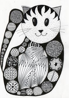 https://flic.kr/p/94S7R5   felix   made both by eric and marie-noelle . eric began to make the circles of all sizes this morning and then put away because he didn't like that . and when i saw it , i turned it and i saw immediatly a cat , so i finished the zentangle !!