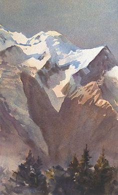 Watercolor painting of realistic mountain. transparent watercolour by wayne roberts, mont blanc glacier Watercolor Landscape, Watercolor And Ink, Landscape Art, Landscape Paintings, Watercolor Paintings, Watercolors, Watercolor Techniques, Art Techniques, Chamonix Mont Blanc