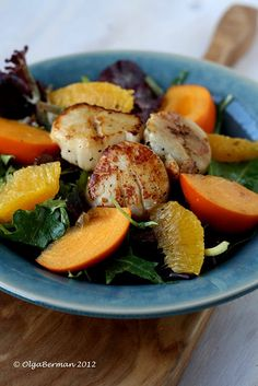 How to cook Scallops + Scallop Salad with Oranges & Persimmon