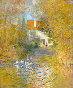 Geese in the creek - Claude Monet. Monet is so recognizable. Monet Paintings, Impressionist Paintings, Paintings I Love, Beautiful Paintings, Landscape Paintings, House Paintings, Impressionism Art, Landscapes, Claude Monet