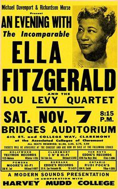 Vintage Ella Fitzgerald Rock & Roll Music Concert Advertising Advertisement Poster Re-Print Wall Decor Poster A3, Jazz Poster, Poster Prints, Ella Fitzgerald, Rock N Roll Music, Rock And Roll, Festival Jazz, Vintage Music Posters, Poster Vintage