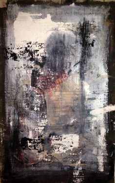 Connie K. Sales, Khara Oxier; abstract collaboration, oil / mix on loose canvas
