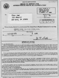 1969 military lottery draft for the Vietnam War.  I still have mine. gunney jim
