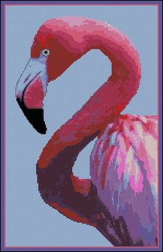 Flamingo  - Counted Needle Point and Cross Stitch Chart Patterns.