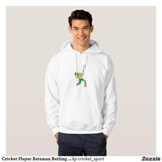 Cricket Player Batsman Batting Front Cartoon Isola Sweatshirt. Cricket World Cup men's shirt with an illustration of a cricket player batsman with bat batting done in cartoon style on isolated white background. #cricket #cricketworldcup #t20worldcup #worldtwenty20 #t20worldcup2016