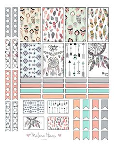 Malena Haas: ❤️FREEBIE Friday❤️ Boho Chic Planner Stickers dream catcher and feather theme with checklists, stickers, dividers and flags To Do Planner, Free Planner, Planner Pages, Happy Planner, Image Deco, Decoration Stickers, Printable Planner Stickers, Stickers For Planners, Freebies Printable