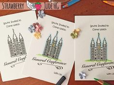 """Invites using the stamp set, """"Note It: General Conference"""" from Strawberry Jude Stamps."""