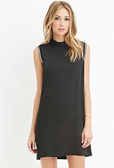 Contemporary Stripe-Trimmed Shift Dress | LOVE21 - 2000162860