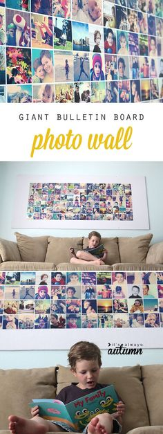Giant DIY picture bulletin board for less than $20! #itsalwaysautumn #photowall