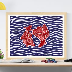 Beautiful poster for hanging and framing, made up of 2 betta, Siamese fighting fish circling each other in an interesting composition with beautiful colours. Lino Art, Siamese Fighting Fish, Nature Posters, Beautiful Posters, Betta Fish, Composition, Tapestry, House Design, Colours