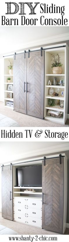 Build this Sliding Barn Door Console! It's perfect for any room! Hide your TV and add tons of storage! Free plans and tutorial at www.shanty-2-chic.com Tap the link now to see where the world's leading interior designers purchase their beautifully crafted