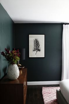 bedroom reveal: dramatic, moody bedroom, dark green walls, simple