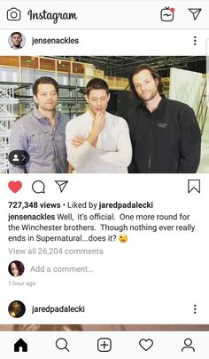 Season 15 will be bitter sweet. Supernatural Jensen, Supernatural Seasons, Winchester Brothers, Dean Winchester, Tiger Video, Even When It Hurts, Oh My Heart, Jensen Ackles Jared Padalecki, I Am Sorry