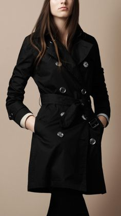 Double Breasted Cotton Trench Coat in Black