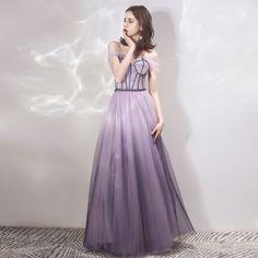 628aa6333d Hermoso Espliego Degradado De Color Morado Vestidos de noche 2019 A-Line   Princess  Fuera