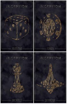 "This Inception movie poster series was redesigned by Qistina Hullon (Full Sail Digital Arts and Design, 2012 graduate). Each poster includes a totem that characters used in the film to distinguish reality, and in her own words, artistically this series was ""fused with an M.C. Escher inspired pattern."""