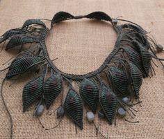 Peacocks feathers micro macrame / macrame & by crystalayana