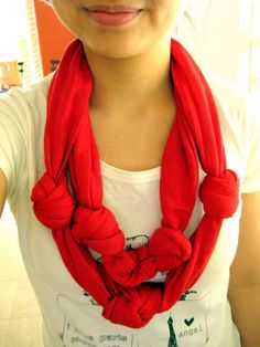 a t-shirt scarf!! cut up a t-shirt + tie in knots = an awesome scarf that could be gifted or worn by you!