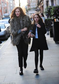 Dinner for three: Trinny Woodall joins her daughter Lyla Elichaoff and partner Charles Saa...
