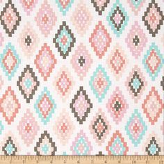 Michael Miller Arrow Flight Cornered non-metallic Blush from @fabricdotcom  From Michael Miller, this cotton print is perfect for quilting, apparel and home decor accents. Colors include grey, coral, mint, pink, blush and white.