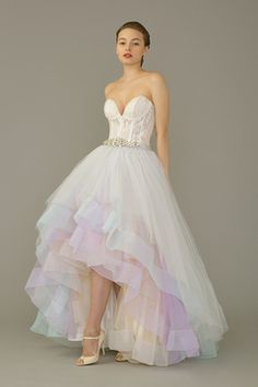 Pastel Hi-Low Wedding Gown by The Louvre Bridal from the SingaporeBrides Spring/Summer 2015 LookBook. Click for hundreds more wedding dresses and coloured wedding gowns!