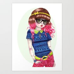 """Eloise Art Print by Natasha Hutton - $18.00  Natasha Hutton creates an image inspired by ball jointed doll and current pop culture and fashion.   Gallery quality Giclée print on natural white, matte, ultra smooth, 100% cotton rag, acid and lignin free archival paper using Epson K3 archival inks. Custom trimmed with 1"""" border for framing."""