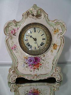 Antique German Royal Bonn Porcelain Ansonia NY Movement Mantle Clock Serviced