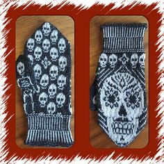 Ravelry: Sugar skull mittens pattern by JennyPenny Knitted Mittens Pattern, Knit Mittens, Knitted Gloves, Knitting Patterns, Crochet Patterns, Halloween Crochet, Knit Dishcloth, How To Purl Knit, Knitting Accessories
