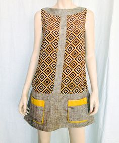 Loving this Nuvula Brown & Yellow Diamond Pocket Sleeveless Dress on #zulily! #zulilyfinds