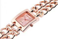 Movimento quartzo, vidro mineral e bracelete de aço inoxidável.3 Modelos à escolha:- Bracelete Dourada e Mostrador Preto- Bracelete Preteada e Mostrador Preto- Bracelete Rosa e Mostrador Rosa