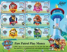 Play Money Paw Patrol plus BONUS 2 additional by AmorPrintables Play Games For Money, Games For Kids, Printable Play Money, Learning Money, Paw Patrol Birthday Cake, Monopoly Money, Kids Rewards, I Love Diy, Mask Party