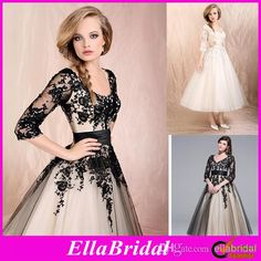 2014 Hot Sale Modern A Line Tea Length White Black Lace Applique Half Sleeves V Neck Bridal Gowns Garden Wedding Dresses Dress Gown