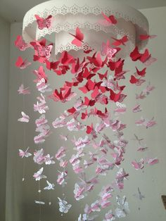 Paper Lace Chandelier Monarch Butterfly Mobile - pink and white Mix - Made to order. $90.00, via Etsy.