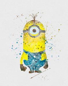 Kevin the minion watercolor Minions 1, Minions Love, Minions Quotes, Funny Minion, Watercolor Disney, Watercolor Art, Disney Paintings, Disney Wallpaper, Minion Wallpaper