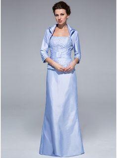 Etui-Linie Rechteckiger Ausschnitt Bodenlang Taft Kleid für die Brautmutter mit Rüschen Spitze Perlen verziert