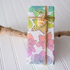Eco Wrap in Tropical Leaves/ Rainbow Orchids Designed by Jana Lam - Wrappily Gift Wraping, Paper Ribbon, Tropical Leaves, Christmas Themes, Textile Design, Flower Power, Gift Tags, Orchids, Best Gifts