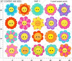 Flower Friends - Digital paper and clip art set - Flower clipart Clip Art, Flower Clipart, Photoshop Elements, Art Plastique, Project Yourself, Print And Cut, Classroom Decor, Planner Stickers, Party Supplies