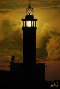 Lighthouse by a stormy sea