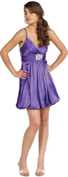 Spaghetti Strapped Brooch Bubble Dress - Prom - Dress