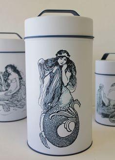 California Seashell Company Retail - Mermaid Cylinder Tins (Food Safe) - Set of 4, $46.99 (http://www.caseashells.com/mermaid-cylinder-tins-food-safe-set-of-4/)