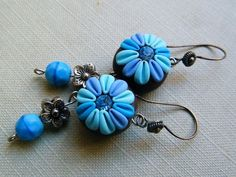 *POLYMER CLAY ~ Blue Sky - Dangling Polymer Clay Earrings.