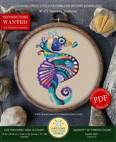 This is modern cross-stitch pattern of Mandala Seahorse for instant download. You will get a PDF file, which includes: - main picture for your reference; - colorful scheme for cross-stitch; - list of DMC thread colors (instruction and key section); - list of calculated thread