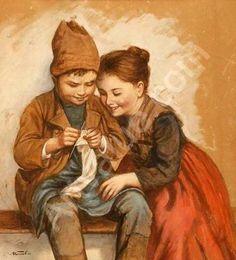 Knitting Lesson - Marie (Mizzi) Wunsch (1862 – 1898, German)