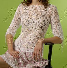 Filet crochet floral top