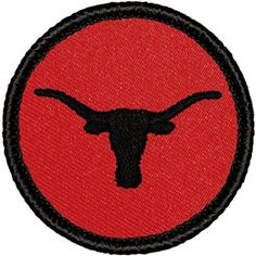 "Retro Red and Black Longhorn Patrol Patch - 2"" Round"