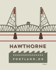 canvaspaintings:  Hawthorne bridge by AprilBlackDesigns (15.00 USD) http://ift.tt/1kGPMwt
