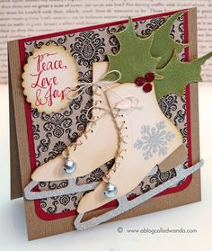 Tim Holtz Ice Skate Die card by Wanda Guess Merry Christmas!!