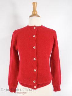 True Vintage 1960s Red Wool Cardigan Pandora Scotchkin Sweater - sm by Better Dresses Vintage