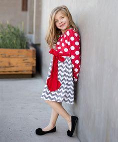 Loving this Red & Gray Heart Stripe Dress - Toddler & Girls on #zulily! #zulilyfinds