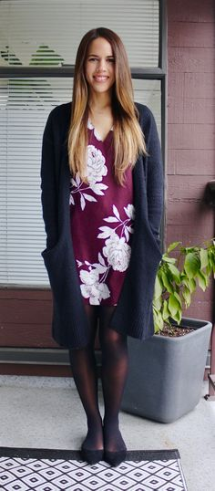 Jules in Flats - Floral Shift Dress with Long Cardigan for Work